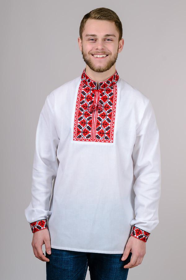 Вишиванка чоловіча біла бавовна, довгий рукав (Україна)