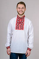 Вышиванка  мужская белая хлопок длинный рукав (Украина)
