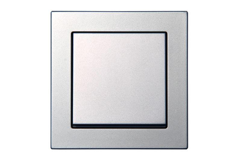 Выключатель 1 клавишный перекрестный, серебристый металлик, Epsilon