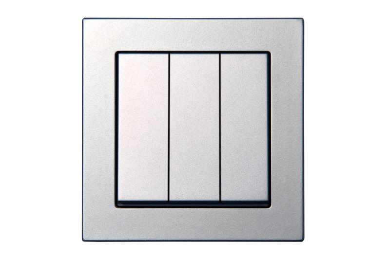 Выключатель 3 клавишный, серебристый металлик, Epsilon