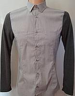 Оригинальная серая рубашка с трикотажными рукавами. Италия
