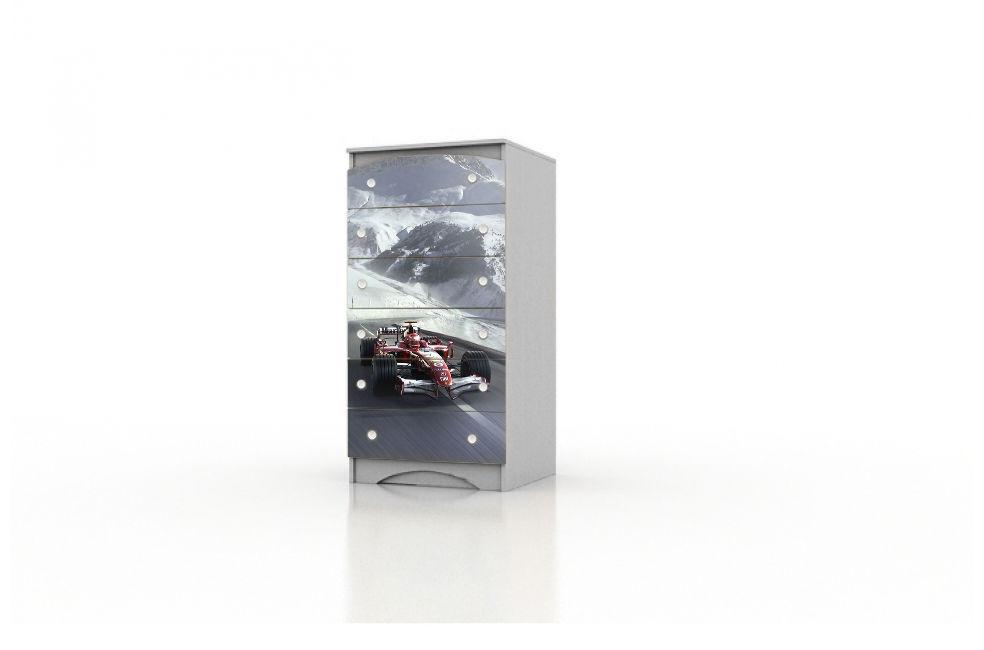 "Високий комод ""Formula1"" в дитячу кімнату для хлопчика ТМ Вальтер-С Сірий KDV-10.55"