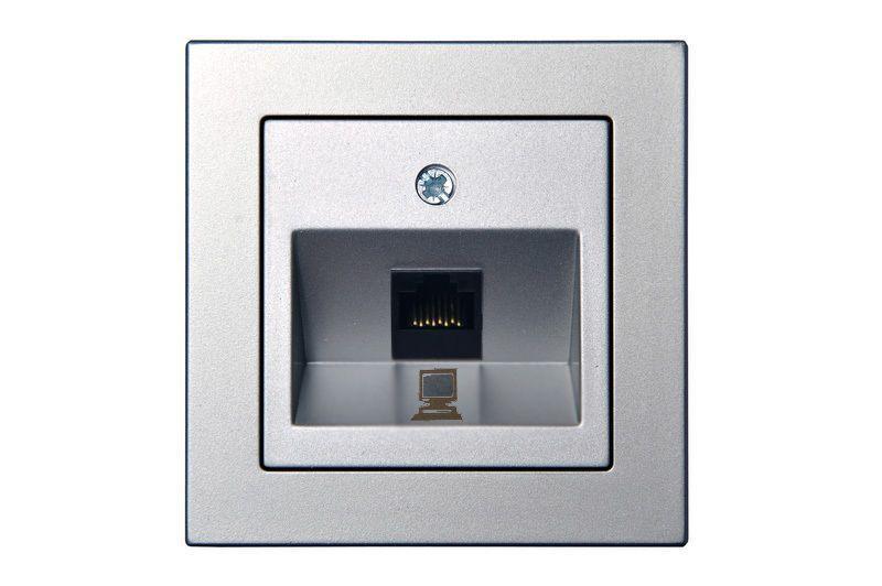 Розетка комп'ютерна одинарна, сріблястий металік, Epsilon