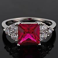 Кольцо с рубиновым камнем, покрытое 18К белым золотом