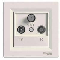 Розетка телевизионная - радио - спутник TV-R-S проходная 4 dB, крем, Sсhneider Asfora Шнайдер Асфора