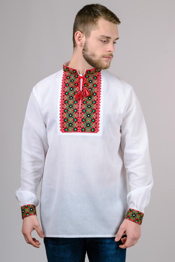 Сорочка вишиванка чоловіча біла бавовна, довгий рукав (Україна)