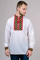 Рубашка вышиванка мужская белая хлопок длинный рукав (Украина)