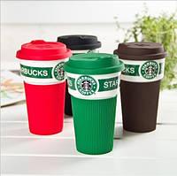 Starbucks термо кружка с силиконовой крышкой