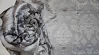 Шарф гипюровый нарядный черного-белого цвета