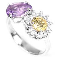 Серебряное кольцо с натуральным аметистом и цитрином