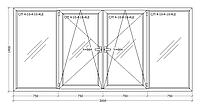 Окно металлопластиковое четырехстворчатое 3000х1400