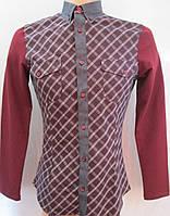 Молодежная рубашка в клеточку с трикотажными рукавами. Италия