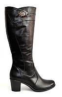 Женские зимние черные кожаные сапоги на устойчивом каблуке, декорированы фурнитурой