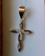 Крест серебряный с напайками золота