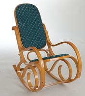 Кресло-качалка ольха,зеленая ткань точки