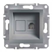 Розетка телефонная RJ11 1 гнездо, сталь, Sсhneider Electric Asfora Шнайдер Асфора