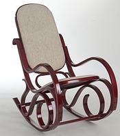Кресло качалка красное дерево ткань бежевая
