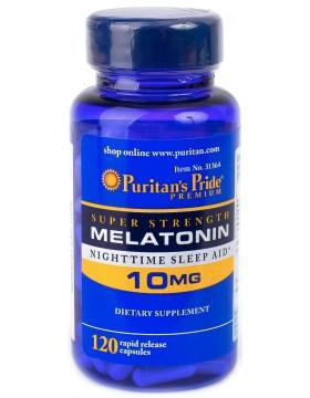 Мелатонин, Melatonin, Puritan's Pride, 10 мг, 120 капсул