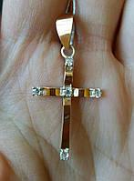 Крест серебряный со вставками золота