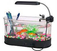 USB Аквариум для живых рыбок + органайзер, часы, термометр