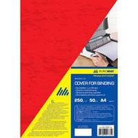 """Обложка картонная """"под кожу"""" BUROMAX А4 250г/м2, (50шт./уп.), красная"""