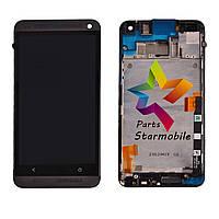 Дисплей для мобильного телефона HTC One M7 801e, черный, с сенсорным экраном, с передней панелью