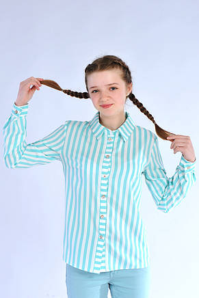 Нарядная блуза-рубашка в полоску для девочки из хлопка, фото 2