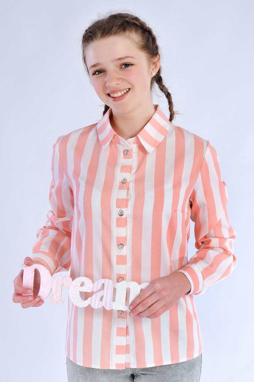 Нарядная блуза-рубашка в полоску для девочки из хлопка