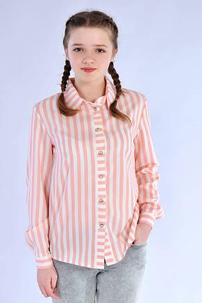 Нарядная блуза-рубашка в полоску для девочки из хлопка, фото 3