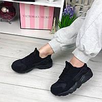Женские черные кроссовки, эко замша + сетка /  кроссовки для девочек, подошва 3.5 см, модные