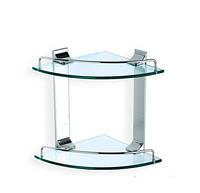 Двойная полочка для ванной стеклянная