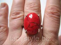 Кольцо с кораллом 17 размеры от студии LadyStyle.Biz, фото 1