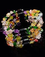 Украшение нашею-браслет из гематита с  натуральным разноцветным кварцем от Студии  www.LadyStyle.Biz