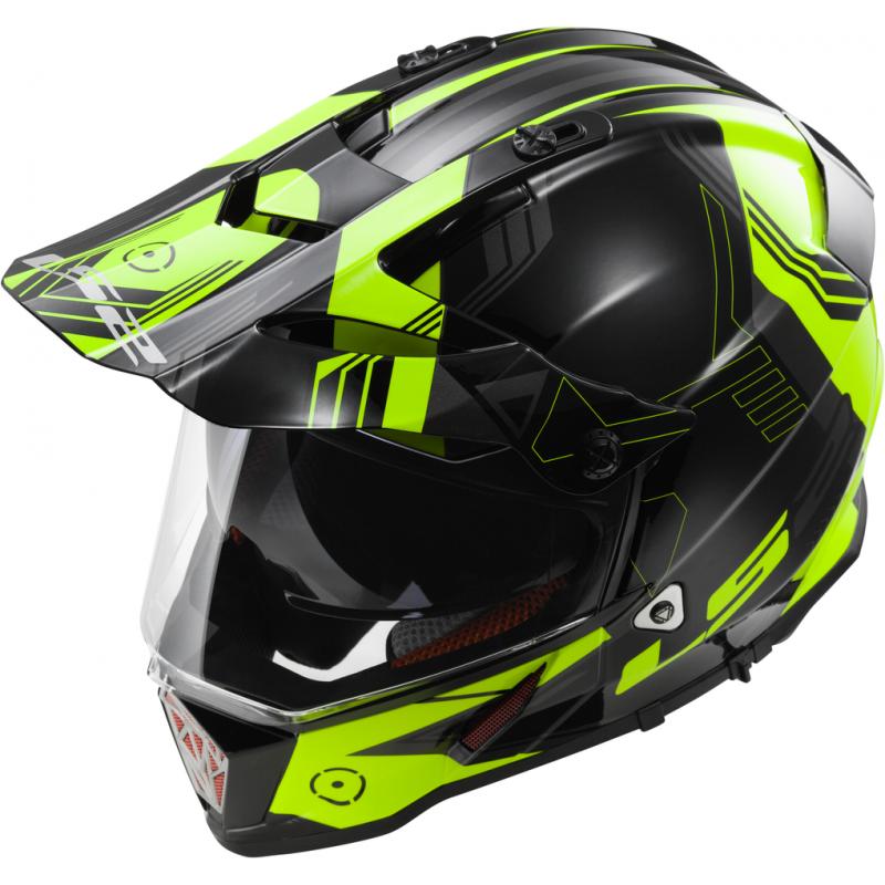 Эндуро шлем LS2 PIONEER MX436 TRIGGER Black Hi-Viz Yellow (S)