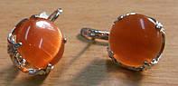 """Золотистые серьги с кошачьим глазом """"Солнечные""""  от Студии  www.LadyStyle.Biz, фото 1"""