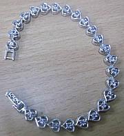 """Изящный серебряный браслет с танзанитами """"Сердце"""" от студии LadyStyle.Biz, фото 1"""