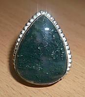 Шикарное кольцо с моховым агатом, размер 19,3 от студии LadyStyle.Biz