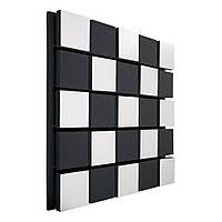 Акустична панель Ecosound Tetras Acoustic Wood White 50х50см 53мм колір чорно-білий