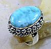 """Овальный перстень с ларимаром """"Морской бриз"""", размер 18.7 от студии  LadyStyle.Biz"""