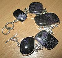 Крупный серебряный браслет  с натуральным чароитом    от студии LadyStyle.Biz, фото 1