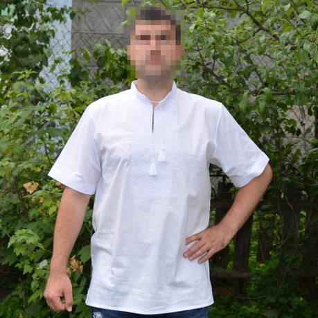 Белая вышивка на белой мужской рубашке, фото 2