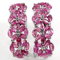 """Красивейшие  серьги с рубинами  """"Цветочные"""", от студии LadyStyle.Biz, фото 1"""