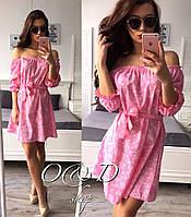 Платье короткое летнее лен с хлопком 4 цвета SMc1364