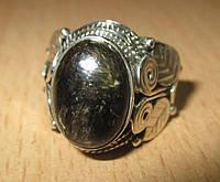 Серебряный перстень  с золотистым серафинитом  , размер 18 от студии LadyStyle.Biz