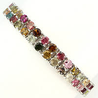 """Потрясающий серебряный браслет с турмалинами """"Самоцветы"""" от студии LadyStyle.Biz, фото 1"""