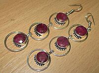 """Крупные серьги с рубинами  """"Сатурн"""" от студии LadyStyle.Biz, фото 1"""