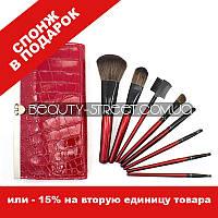Набор кистей для макияжа в кошельке 8 (Красный)