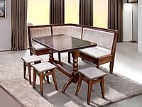 Комплект кухонный обеденный из натурального дерева Семейный (угол+стол+3 табурета)