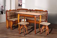 Комплект кухонный обеденный из натурального дерева Далас (угол+стол+2 табурета)