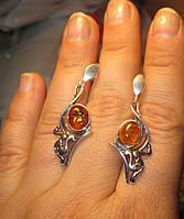 """Элегантные серьги-гвоздики с натуральным янтарем """"Красотка""""  от студии LadyStyle.Biz, фото 1"""